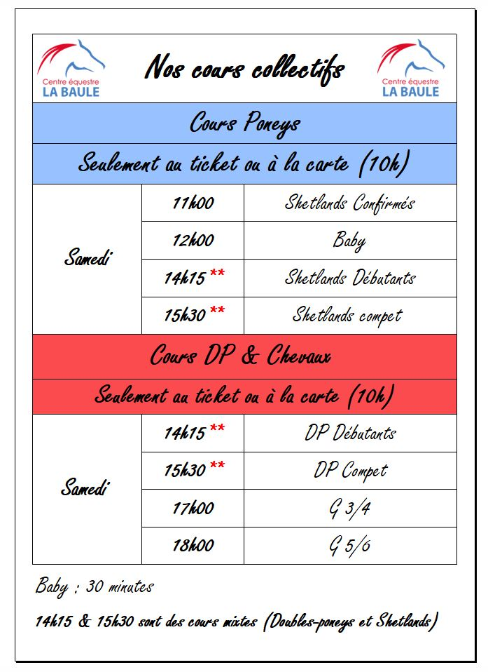 HORAIRES COURS CO