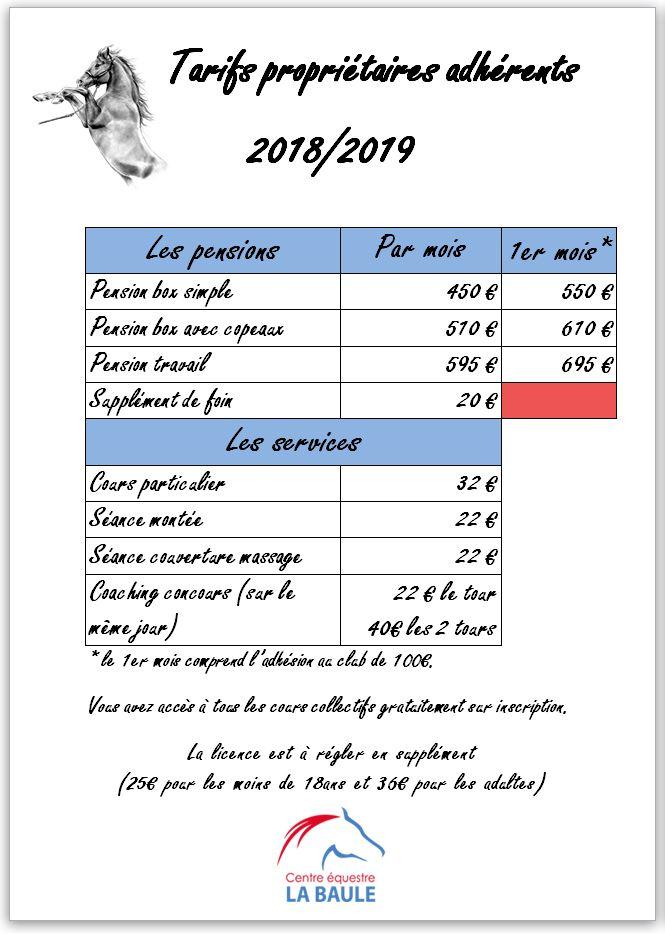tarif prop adh 1